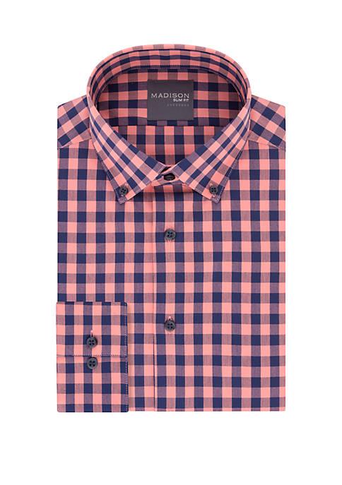 Madison Slim Fit Gingham Print Dress Shirt