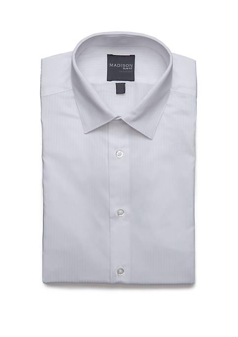 White Textured Dobby Button Down Shirt