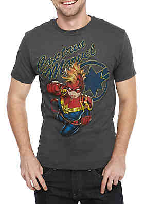 C-LIFE Captain Marvel Screenprint T Shirt ... a2b7355bc
