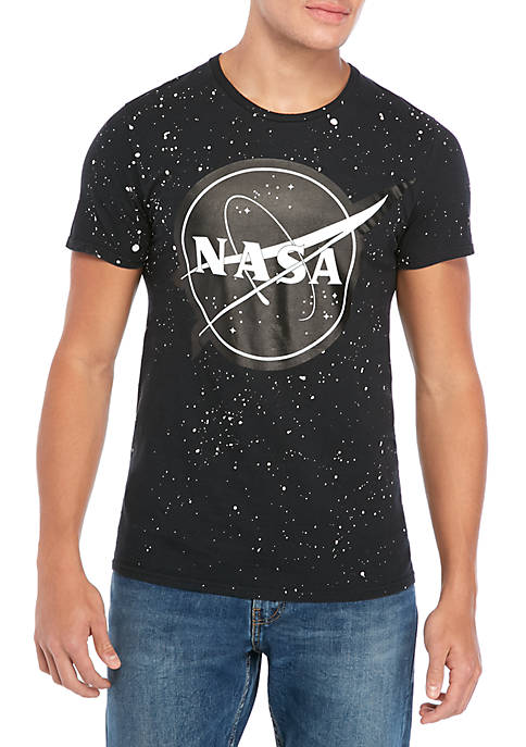 C-LIFE NASA Speckled Black Graphic T-Shirt