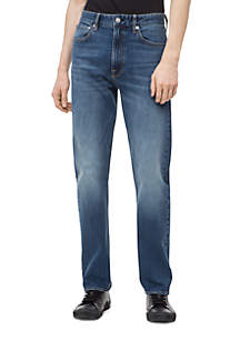 Relaxed Straight Mid Blue Jeans