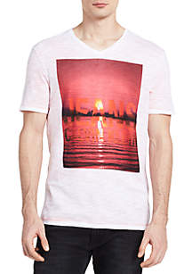 Short Sleeve City Horizon Photo V-Neck Graphic Tee