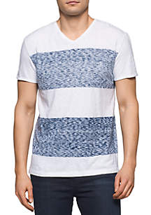 Calvin Klein Jeans Short Sleeve Reverse Blotch Colorblock V-Neck Shirt