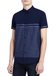 Short Sleeve Roll-up Engineered Horizontal Stripe Shirt