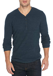 Long Sleeve Waffle Layer Henley Shirt