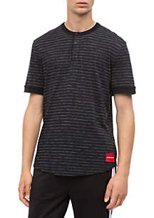 Jacquard Stripe Henley Top