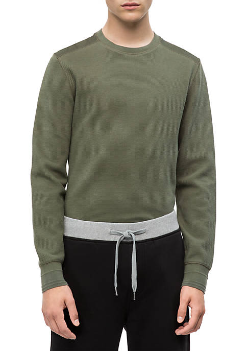 Calvin Klein Jeans Long Sleeve Waffle Crew Neck