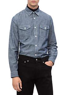 Long Sleeve Chambray Utility Woven Shirt
