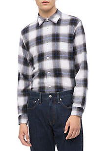 Long Sleeve Herringbone Check Woven Shirt