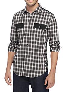 Long Sleeve Nebraska Plaid Woven Shirt