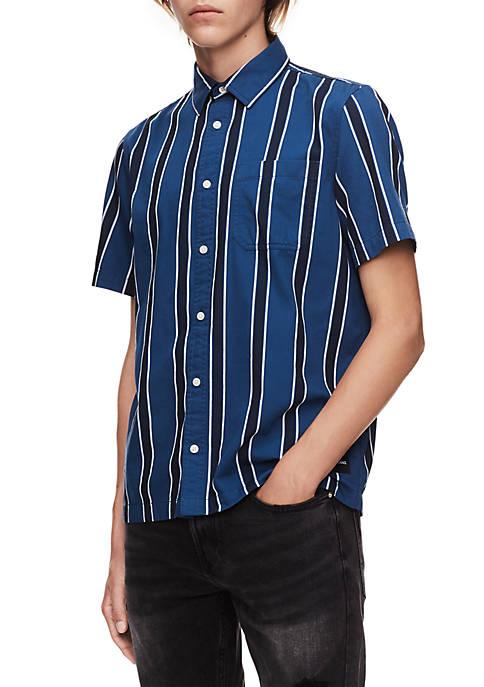 Calvin Klein Jeans Gradient Stripe Short Sleeve Button