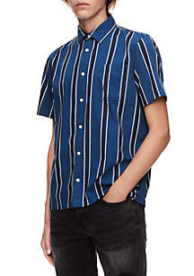 Gradient Stripe Short Sleeve Button Front Shirt