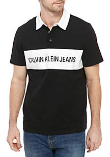 Calvin Klein Jeans Short Sleeve Knock Out Logo Printed Rugby Stripe Shirt
