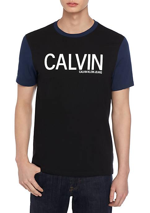 Contrast Sleeve Ringer Logo T Shirt