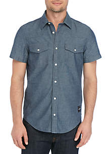 Calvin Klein Jeans Western Block Short Sleeve Chambray Shirt