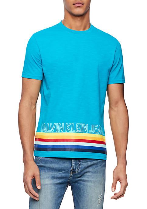 Calvin Klein Jeans Bottom Multi Stripe Crew Neck