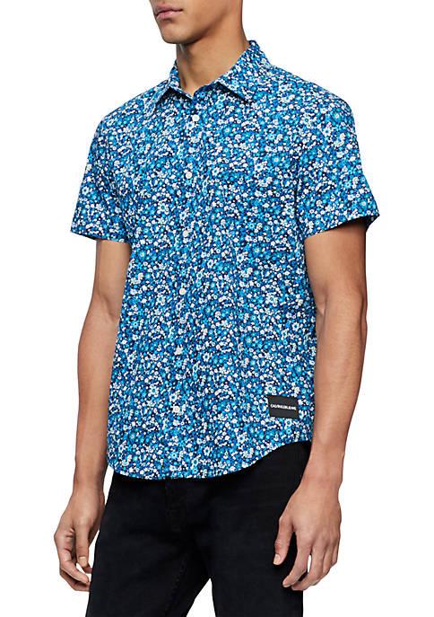 Floral Work Wear Short Sleeve Shirt