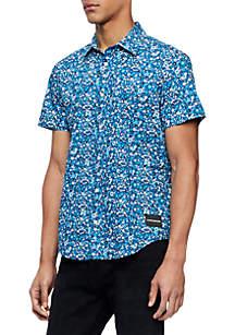 Calvin Klein Jeans Floral Work Wear Short Sleeve Shirt