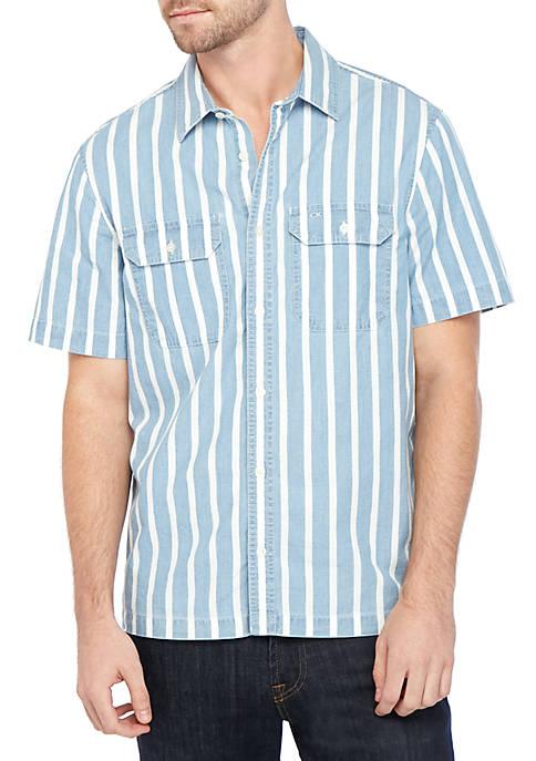 Tri Block Logo Indigo Stripe Boxy Short Sleeve Shirt