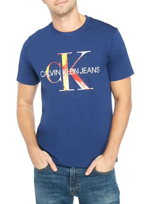 Calvin Klein Mens Monogram Logo Graphic T-Shirt