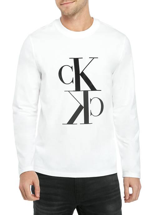 Calvin Klein Mens Reflection Logo Long Sleeve Graphic