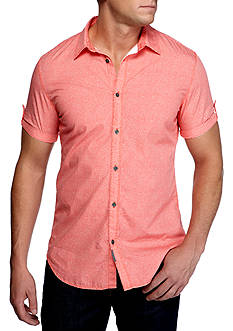 Calvin Klein Jeans Short Sleeve Scattered Square Print Button Down Shirt