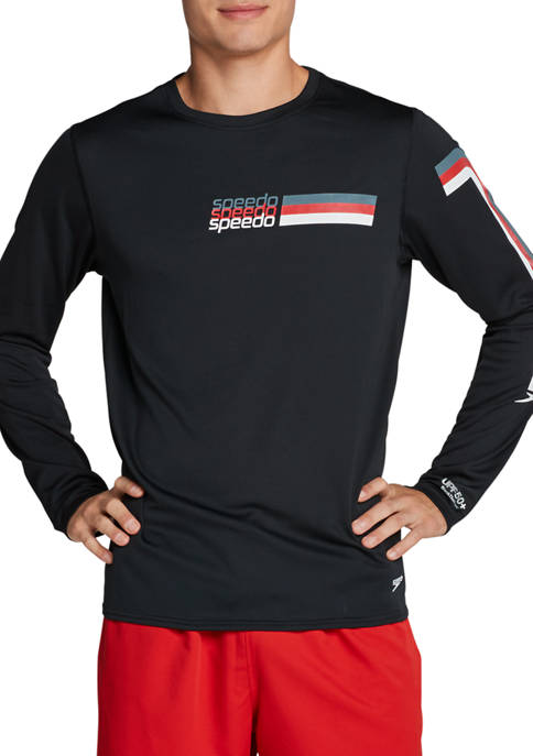 Mens Long Sleeve Rashguard Graphic Swim T-Shirt