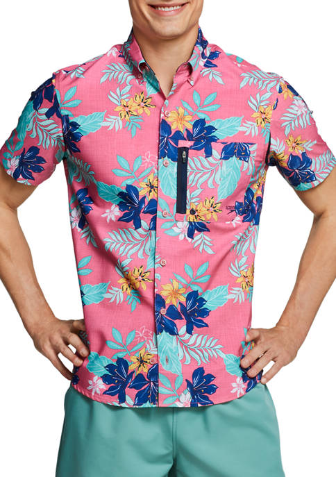 speedo® Mens Short Sleeve Floral Paddle Shirt