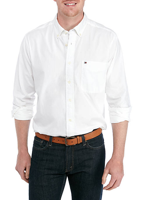 Big & Tall Copote Solid Long Sleeve Woven Shirt