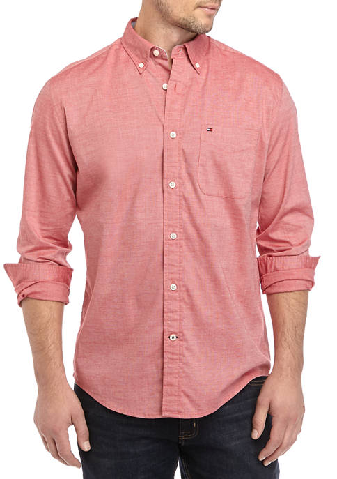 Long Sleeve Stretch Button-Down Shirt