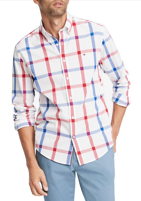 Talbot Plaid Long Sleeve Stretch Poplin Shirt