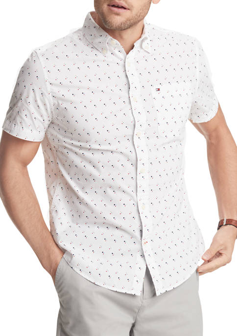 Short Sleeve Geometric Print Shirt
