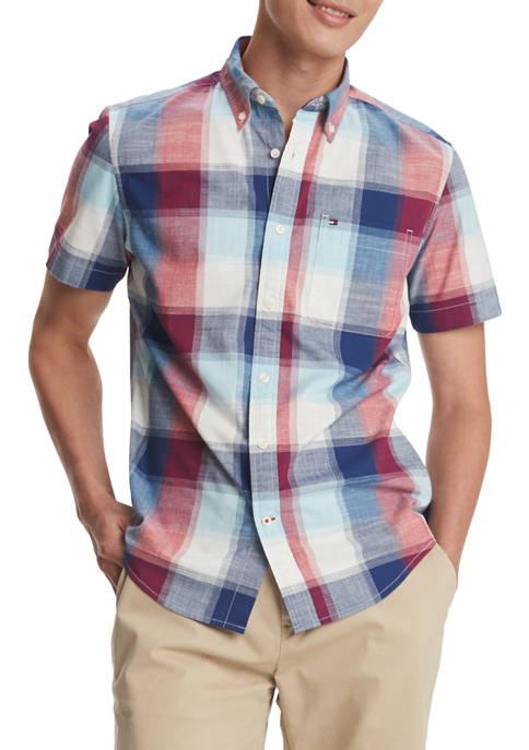 Short Sleeve Plaid Button Down Shirt