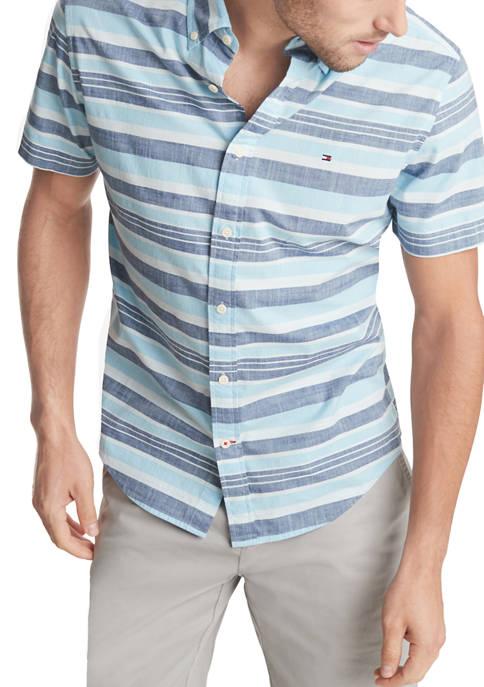 Short Sleeve Striped Button Down Shirt