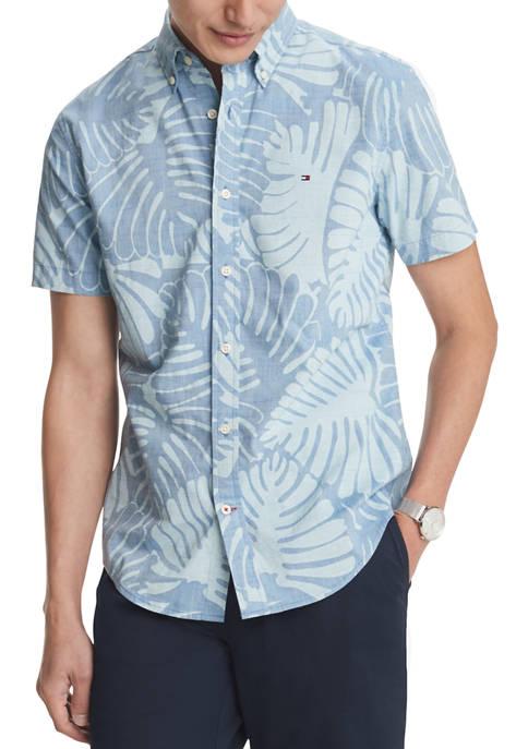 Short Sleeve Leaf Print Button Down Shirt