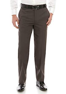 Savane® Subtle Check Flat Front Expandable Waist Pants