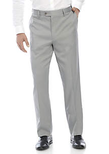 Savane Men's Flat Front Stretch Crosshatch Dress Pant