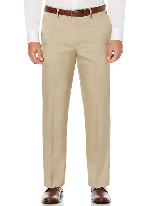 Mens Flat Front Stretch Crosshatch Dress Pants