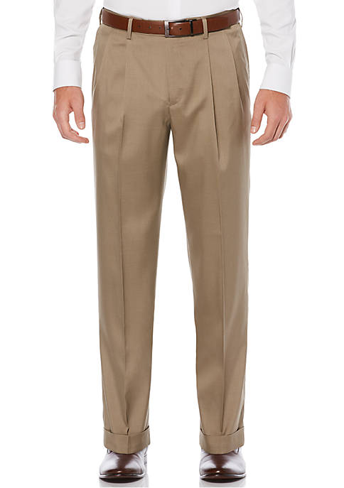 Pleated Stretch Crosshatch Dress Pants