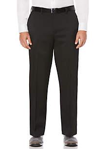 Big & Tall Crosshatch Stretch Men's Extender Waist Flat Front Dress Pants