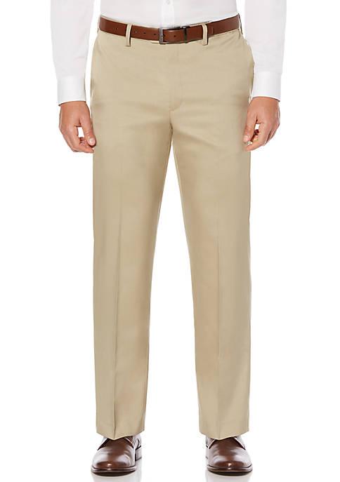 Big & Tall Crosshatch Stretch Mens Extender Waist Flat Front Dress Pants