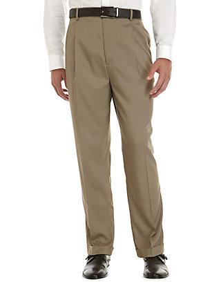 58a40117 Big & Tall Stretch Crosshatch Pleated Dress Extender Waist Dress Pants