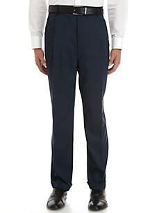 Big & Tall Stretch Crosshatch Pleated Dress Extender Waist Dress Pants