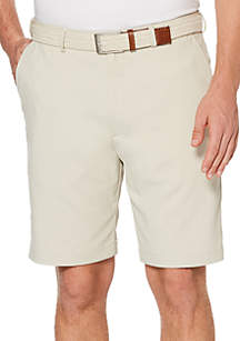 Big & Tall Men's Flat Front Microfiber Extender Waist Shorts