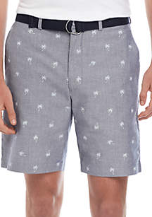 Savane® Palm Tree Belted Twill Shorts