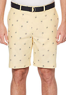 Palm Tree Belted Twill Shorts