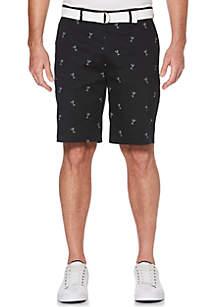 Savane® Martini Print Belted Flat Front Shorts