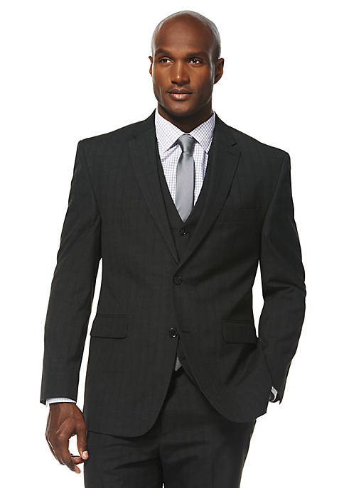 Travel Intelligence Classic Fit Charcoal Shadow Plaid Suit Separate Jacket
