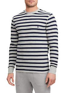 Big & Tall Striped Waffle-Knit Crewneck