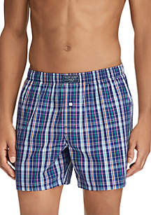 Woven Navy Plaid Boxers
